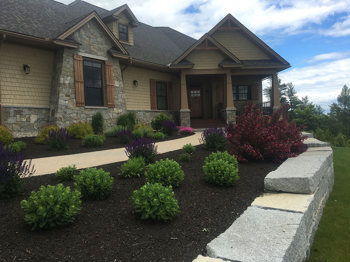 Granite Wall and Paver Walkway