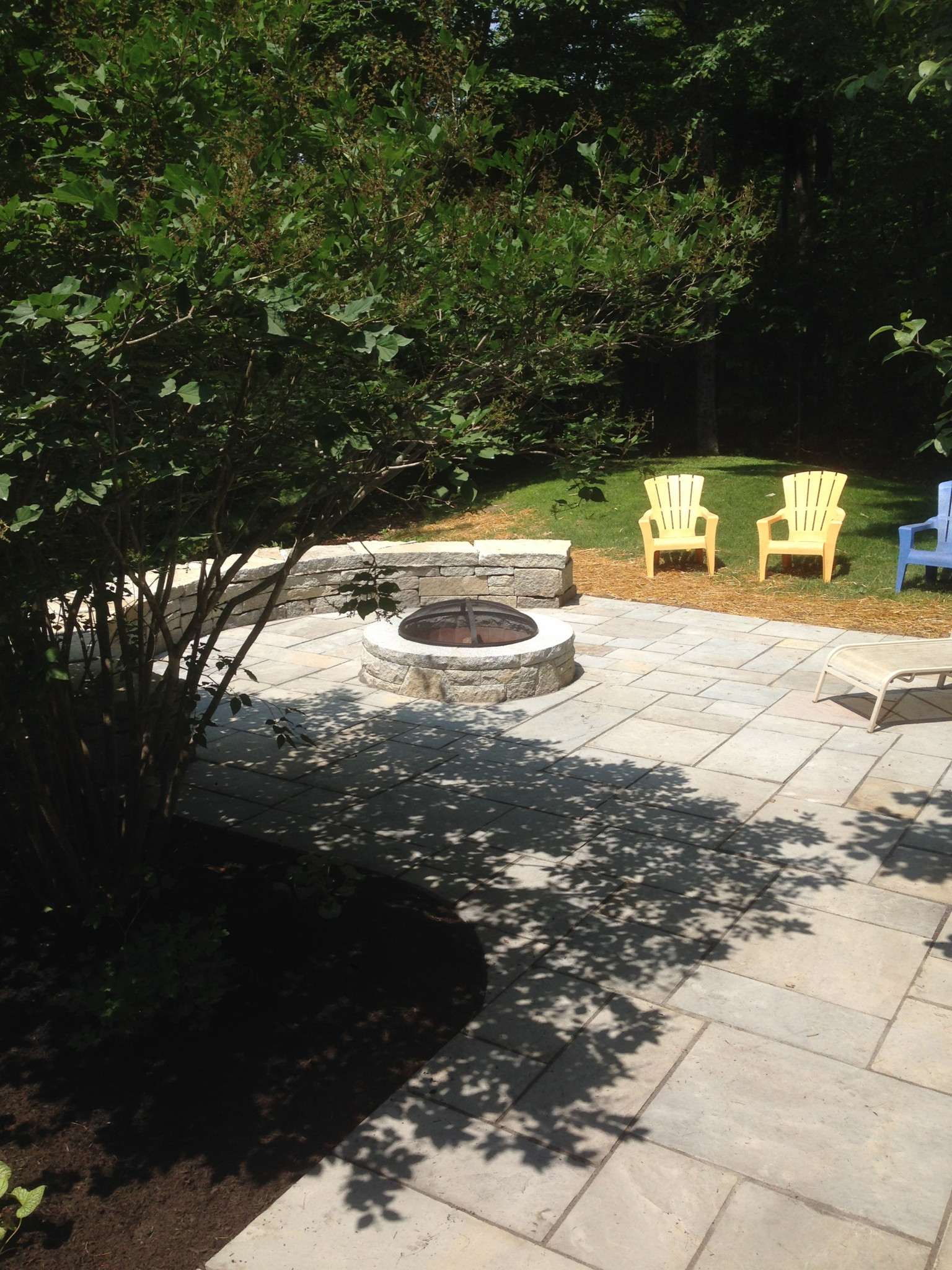 Patio with Firepit and Sitting Wall